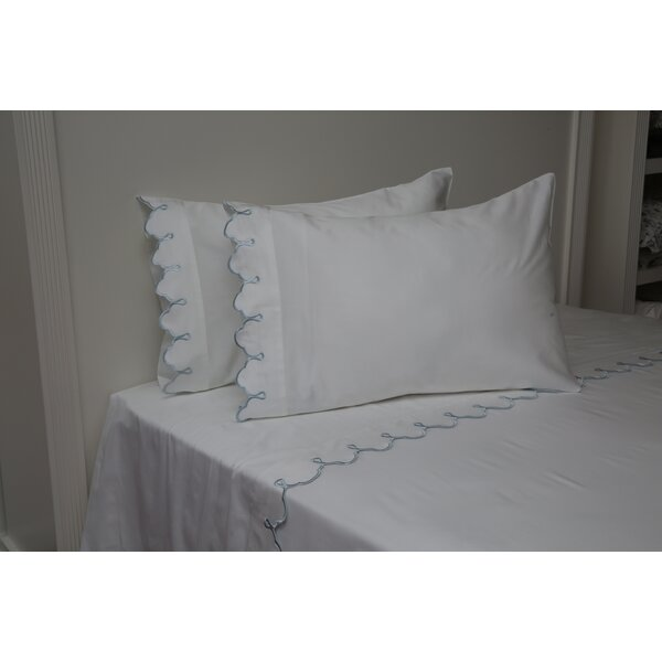 Claudie Embroidered 300 Thread Count 100% Cotton Sheet Set by One Allium Way